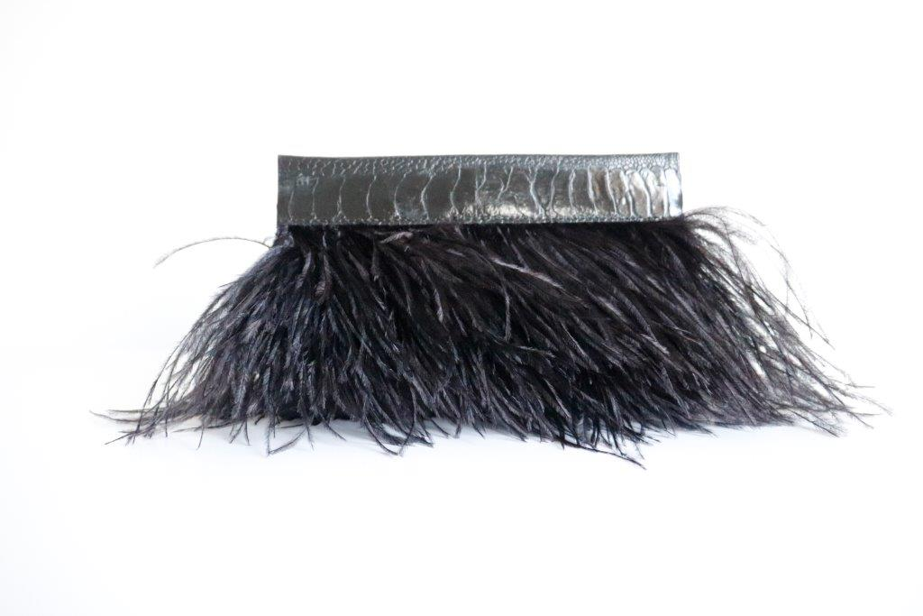 Clutch Feather Handbag - Black