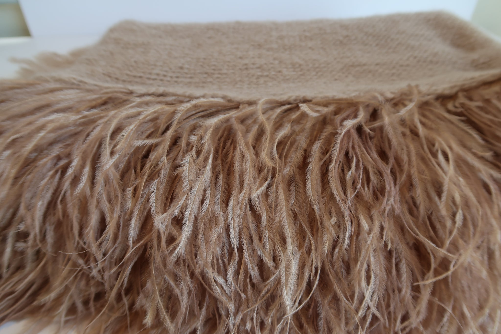 Mohair Shawls with Ostrich Feather Rouching - Camel