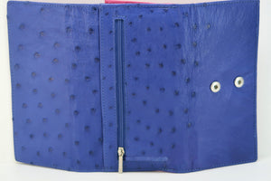 Tri Fold Purse: Multi-Colour Design - Mod Blue/Cyclamen