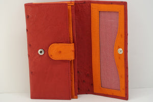 Tri Fold Purse: Multi-Colour Design - Red/Tangerine