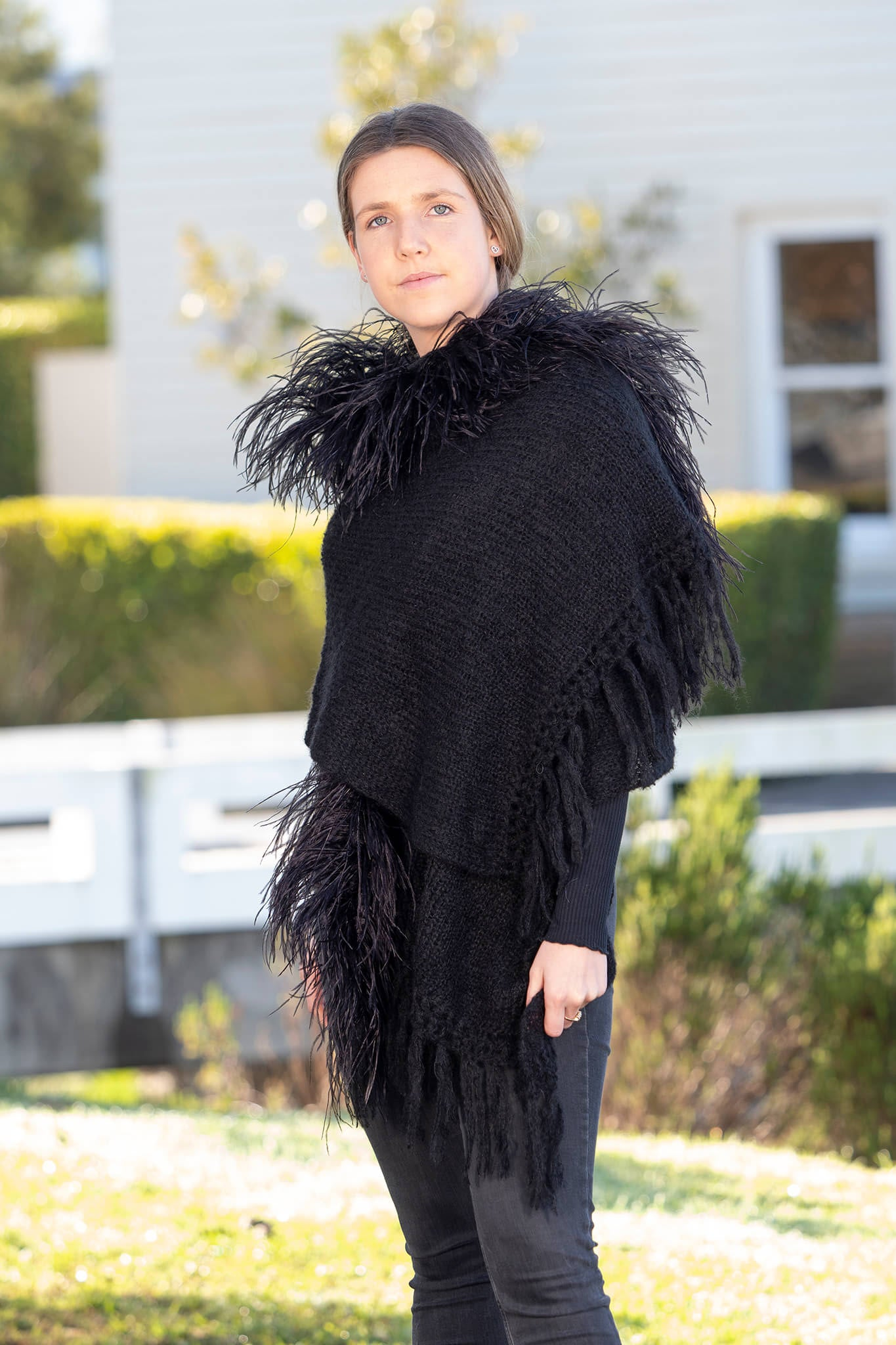 Mohair Shawls with Ostrich Feather Rouching - Black