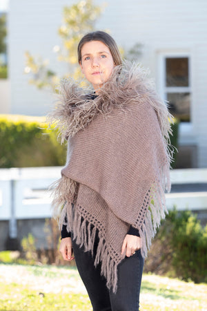 Mohair Shawls with Ostrich Feather Rouching - Mink
