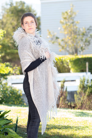 Mohair Shawls with Ostrich Feather Rouching - Linen