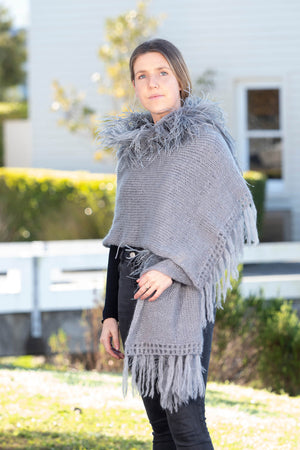 Mohair Shawls with Ostrich Feather Rouching - Grey