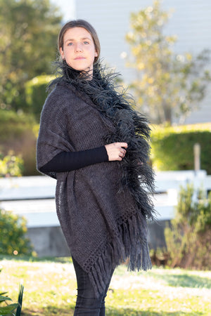 Mohair Shawls with Ostrich Feather Rouching - Charcoal