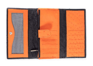 Tri Fold Purse: Multi-Colour Design - Black/Tangerine