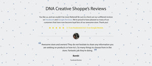 DNA Creative Shoppe's Facebook review from a satisfied customer.