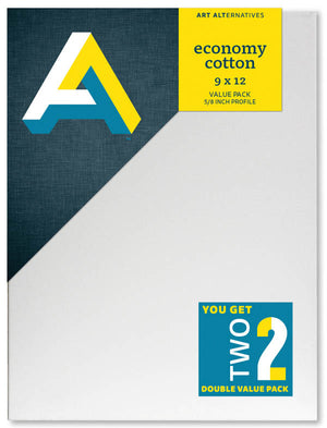 Economy Cotton Stretched Canvas - 2pk