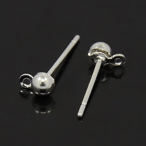 Silver Plated Ball Ear Stud - 50pc