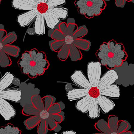 Cherry Pop - Large Floral Black