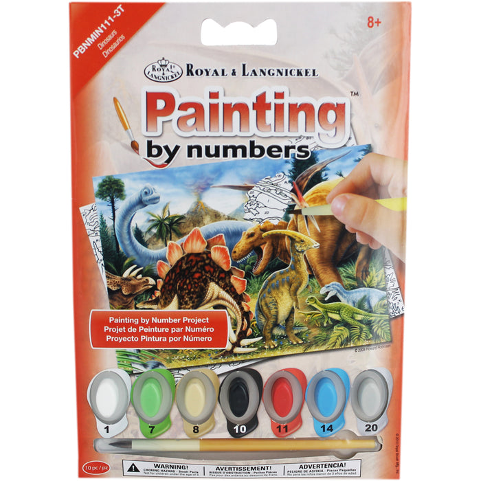 Mini Paint By Number Kit - Dinosaurs