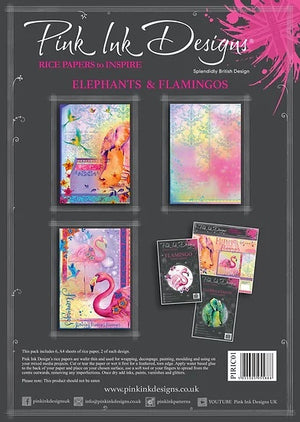 Pink Ink Designs A4 Rice Paper 6/Pkg - Elephants & Flamingos