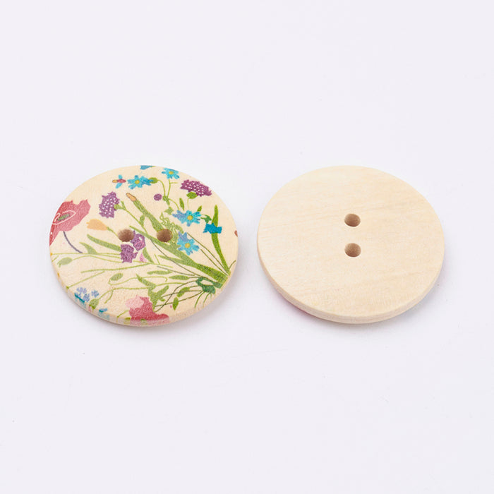 Wooden Flower Buttons - 100ct.
