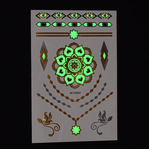 Temporary Metallic/Glow in the Dark Tattoos - Lotus Necklace Asst.