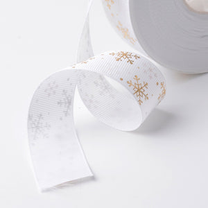 White/Gold Snowflakes - 25mm