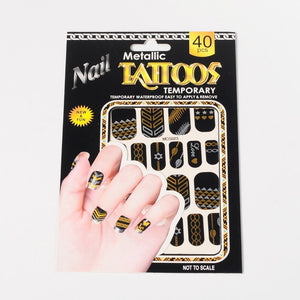 Temporary Metallic Nail Tattoos - Tribal