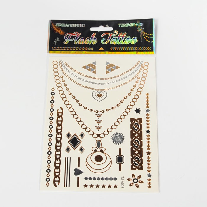 Temporary Metallic Tattoos - Necklace/Assorted Tattoos