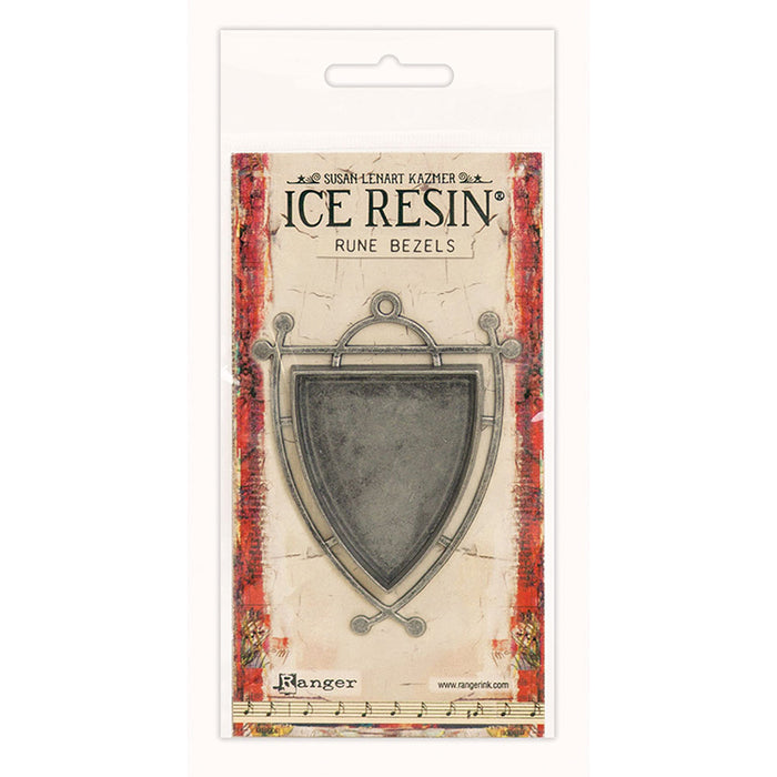 Ice Resin Rune Bezel Shield - Antique Silver