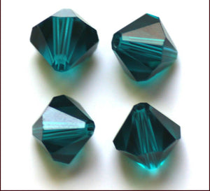 3mm Bicone Crystal Beads - Teal - 100pk