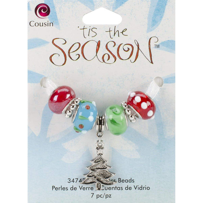 Tis The Season Large Hole Beads - Red/Green/Tree