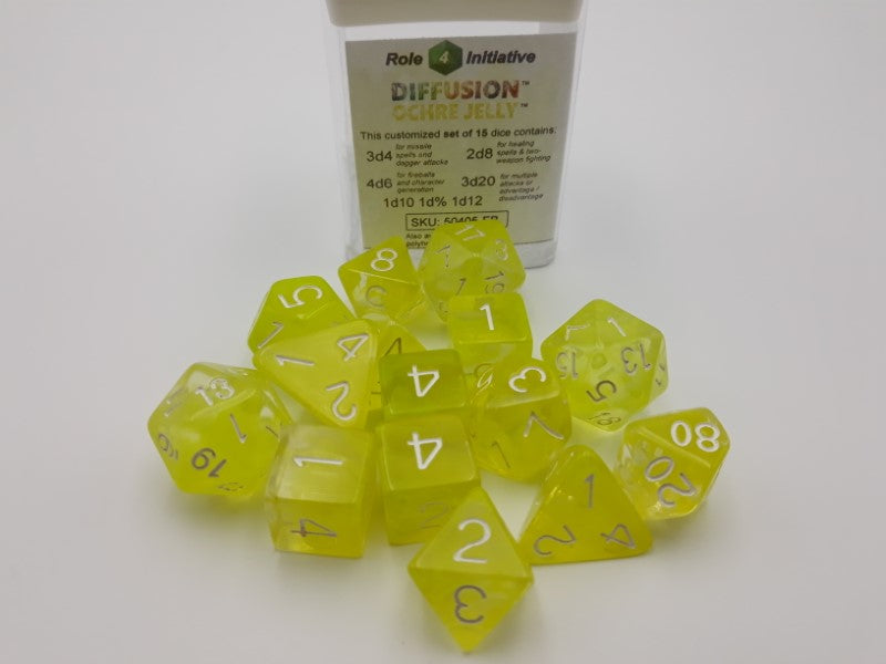 Diffusion Poly 15 Dice Set (Various Colours)