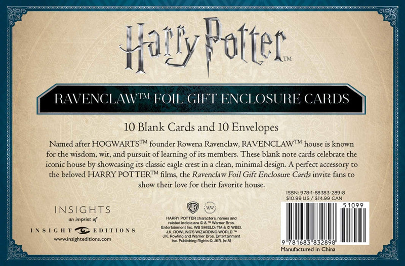 Harry Potter Foil Gift Enclosure Cards 10-Pack Ravenclaw 89 x 56 mm
