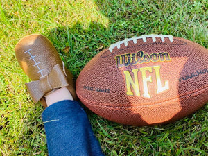 Football Baby Moccasins with Bows