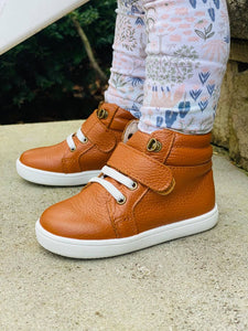 Leather High Top Cognac Sneakers