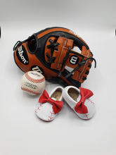 Load image into Gallery viewer, Baseball Baby Moccasins with Bow and Red Sole