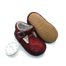 Load image into Gallery viewer, Classic MaryJanes Dark Red Sparkle