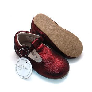 Classic MaryJanes Dark Red Sparkle