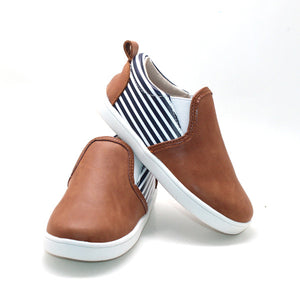 Slip-on Sneaker- Brown Waxed Leather and Stripes