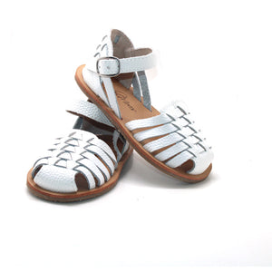 Weave Closed Leather Sandal - White