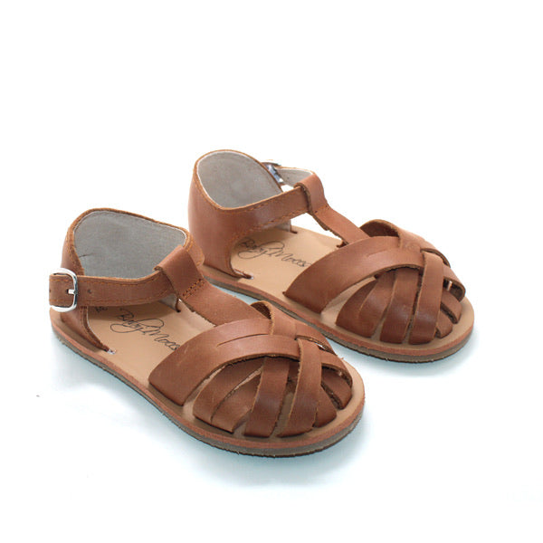 Strappy Closed-toe Leather Sandal- Brown