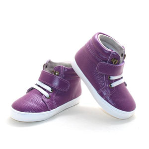 Leather High Top Purple Sneakers