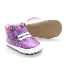 Load image into Gallery viewer, Leather High Top Purple Sneakers