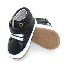 Load image into Gallery viewer, Leather High Top Black Sneakers