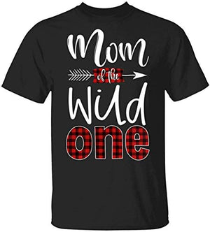 Men's Graphic T-Shirts, Mom of The Wild One Buffalo Plaid Lumberjack 1St Birthday Graphic Gift Graphic Tee Unisex T-Shirt Trending Shirt, Crew Neck Short Sleeve Gifts - BIZARRE PRINTS