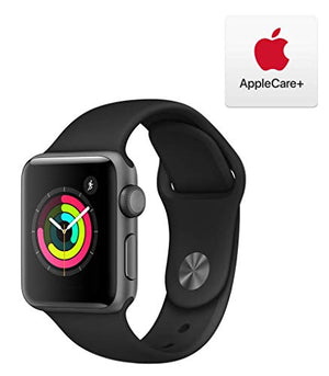 Apple Watch Series 3 (GPS, 38mm) - Space Gray Aluminum Case with Black Sport Band with AppleCare+ Bundle - BIZARRE PRINTS