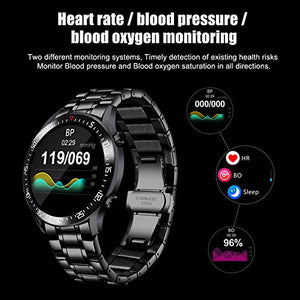 Smart Watch Men, Activity Tracker, 1.4 Inch Large Screen Fitness Watches with GPS Blood Pressure Health Monitor Pedometer for iPhone and Android Phones, Stainless Steel