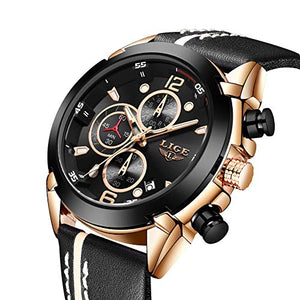 LIGE Watches for Men Sports Chronograph Waterproof Analog Quartz Watch with Black Leather Band Classic Casual Big Face Mens Wrist Watch Gold Black