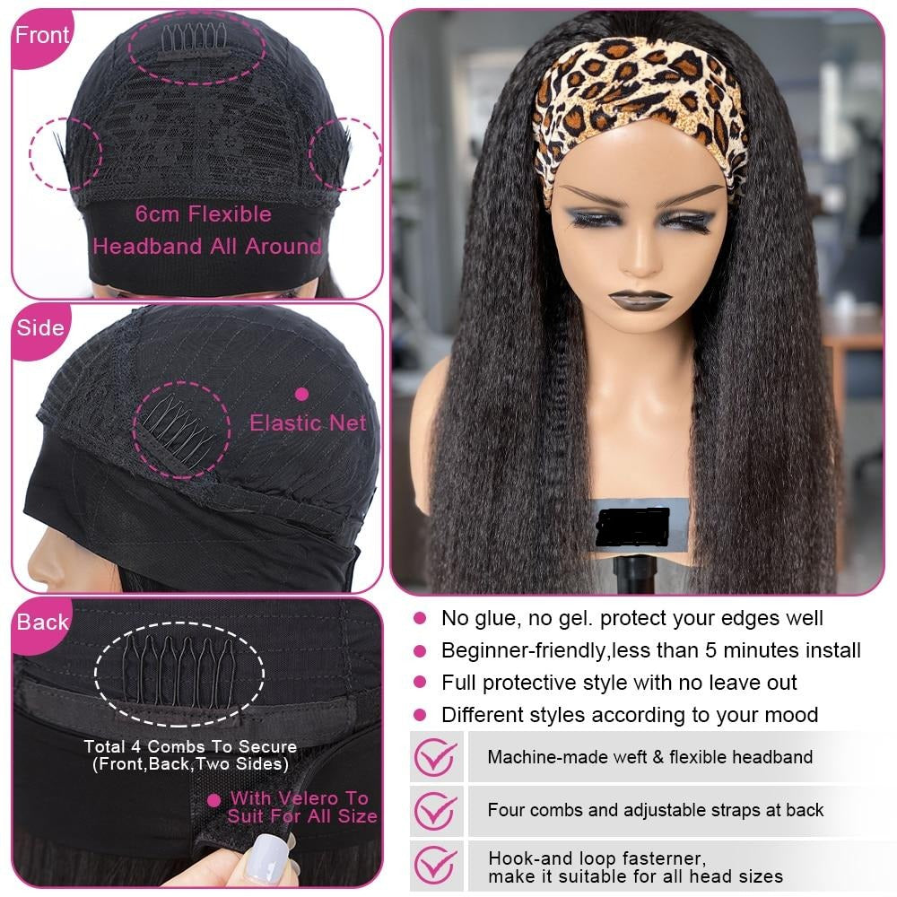 Headband Brazilian Kinky Straight Wig