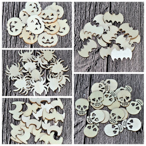"(5 Styles,150pcs/set) 20mm Blank Wood Halloween Party Owl Skull Bat Pumpkin Cat Spider 0.08""-b002"