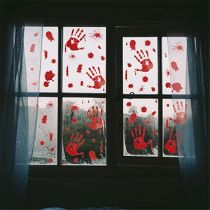 3D Horrible Halloween Decoration Bloody Wall Stickers Fingerprint Blooding Handprint Foot Wallpaper Glass Window Halloween Decor