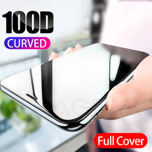 100D Curved Full Cover Protective Glass On The For iPhone 7 8 6S Plus Tempered Screen Protector iPhone 11 Pro X XR XS Max Glass