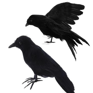 1piece Artificial Black Feather Raven Props Halloween Ghost Festival Decorations Haunted House Party Home Bar Decorations