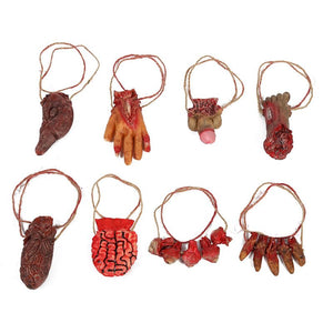 1 Set Halloween Broken Hand Decorations Home Party Bars Haunted House Terrorist Atmosphere Residual Organs Pendant