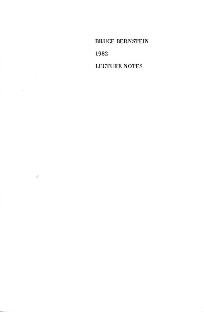 Bruce Bernstein 1982 Lecture Notes - Book