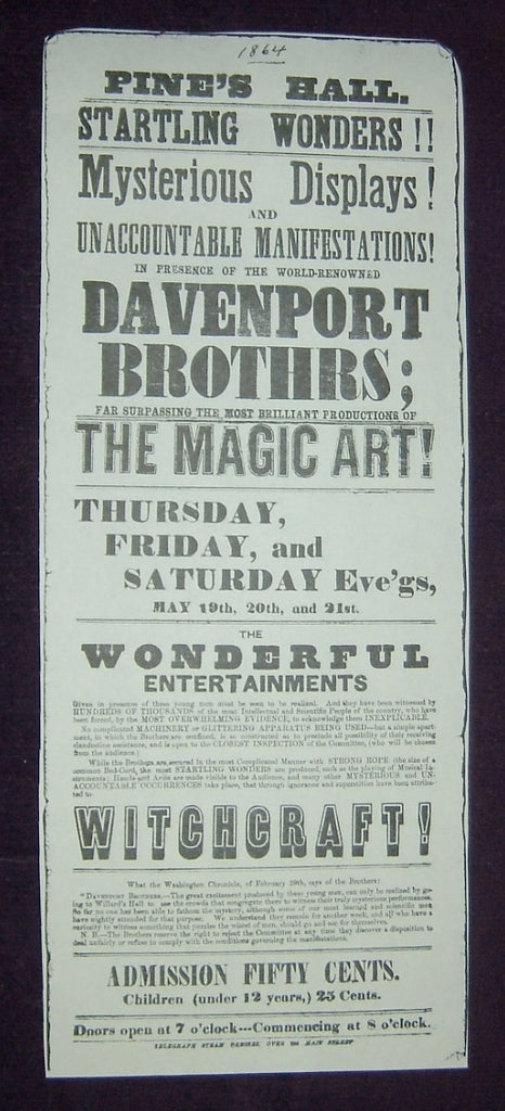 DAVENPORT BROTHERS - Pine's Hall Broadside (1864)