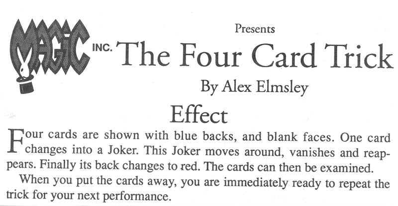 The Four Card Trick By Alex Elmsley
